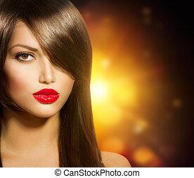gyönyörű, barna szem, egészséges, hosszú szőr, leány