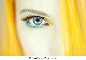 gyönyörű, becsuk, woman szem, feláll