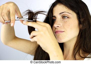 gyönyörű, befejeződik, nő, szőr elvág, hasít, súlyos