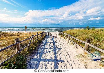 gyönyörű, belépés, falu, tenger, lubiatowo, balti, tengerpart, homokos