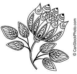 gyönyörű, black-and-white, virág, rajz, kéz