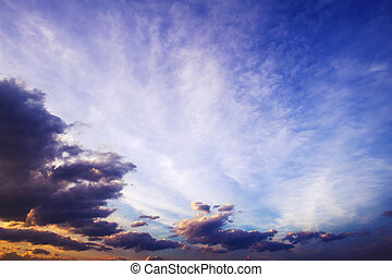 gyönyörű, cloudscape, este, ég, félhomály
