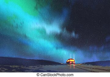 gyönyörű, csillagos, furgon, parkolt, ég