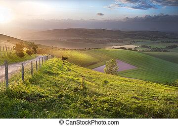gyönyörű, dombok, vidéki táj, felett, angol, gördít parkosít