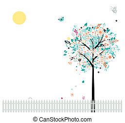 gyönyörű, -e, kerítés, fa, madarak, floral tervezés