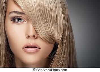 gyönyörű, egészséges, hosszú, girl., szőke, hair.