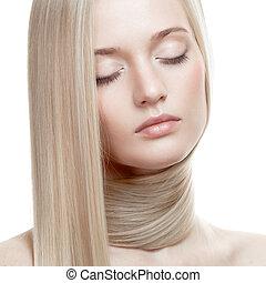gyönyörű, egészséges, hosszú szőr, girl., szőke