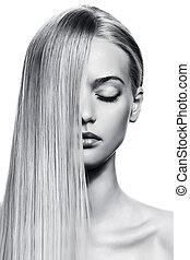 gyönyörű, egészséges, kép, hosszú, girl., bw, hair., szőke
