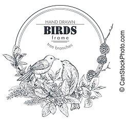gyönyörű, elágazik, madarak, menstruáció, keret, kéz, húzott, plants.