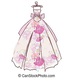 gyönyörű, elszigetelt, esküvő, white ruha, tervezés