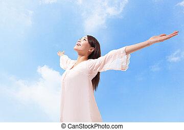 gyönyörű, emelt, lélegzés, fegyver, levegő, nő, friss