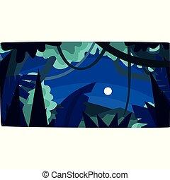 gyönyörű, erdő, hold, ábra, tropikus, körvonal, vektor, dzsungel, háttér, éjszaka, erdő