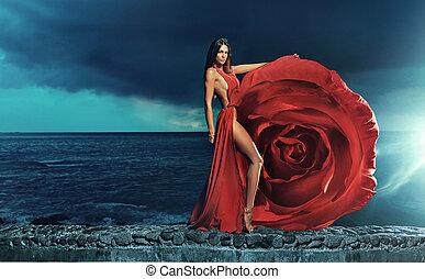 gyönyörű, fárasztó, barna nő, ruha, rózsa