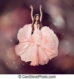 gyönyörű, fárasztó, mód, művészet, sifón, szépség, hosszú, girl., nő, portrait., formál, ruha