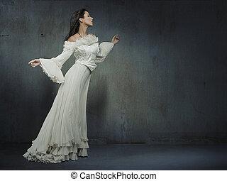 gyönyörű, fárasztó, nő, fal, felett, grungy, white ruha