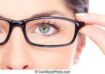 gyönyörű, fárasztó, nő, fiatal, portrait., szemüveg