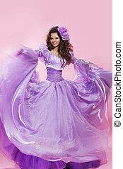 gyönyörű, fárasztó, nő, sifón, szépség, pink., ruha, felett, photo., hosszú, barna nő, leány, mód
