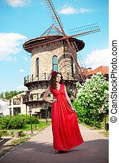 gyönyörű, fényes, nő, ruha, piros