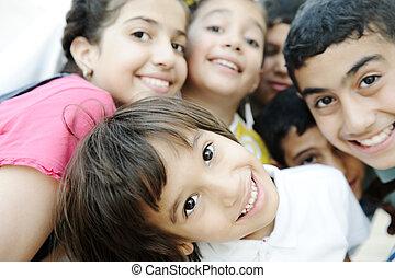 gyönyörű, fénykép, gyerekek, csoport, boldog