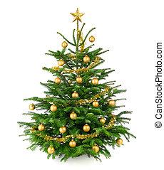 gyönyörű, fa, apróságok, arany, karácsony