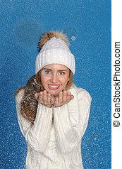 gyönyörű, felső, nő, hó felöltöztet