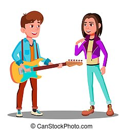 gyönyörű, fiatal, ábra, elszigetelt, gitár, vector., leány, ember, játék, jelentékeny