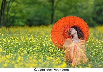 gyönyörű, finom, nő, napernyő, narancs