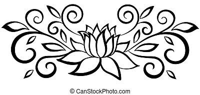 gyönyörű, flower., elvont, flourishes., elszigetelt, fekete, fehér, zöld