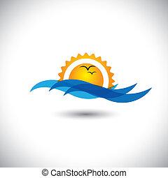 gyönyörű, fogalom, &, -, óceán, napkelte, vektor, lenget, reggel, madarak