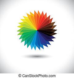 gyönyörű, fogalom, kék, flower., szirom, graphic-, vektor, s a többi, fényes, ábra, szeret, narancs, befest, virág, tervezés, virágos, zöld, sárga, piros, színes, látszik
