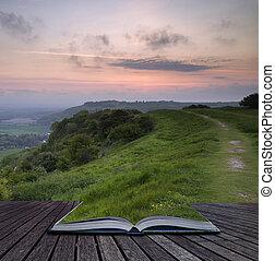 gyönyörű, fogalom, vidéki táj, vibráló, felett, kreatív, könyv, napkelte, gördülő, apródok, táj