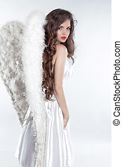gyönyörű, formál, barna nő, angyal, elszigetelt, leány, fehér, kasfogó