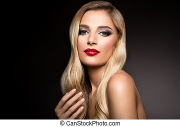 gyönyörű, formál, frizura, göndör, lips., göndörödik, hosszú szőr, hullámos, leány, szőke, piros