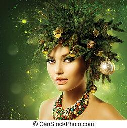 gyönyörű, frizura, alkat, fa, ünnep, karácsony