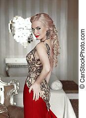 gyönyörű, frizura, nő, alkat, modern, szobai, finom, mód, portrait., szőke, interior., feltevő, formál, ruha