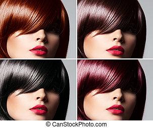 gyönyörű, frizura, nő, természetes, kollázs, egyenes, fiatal, szőr elpirul, fogalom, sima, kevert