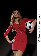 gyönyörű, futball, nő, ruha, labda