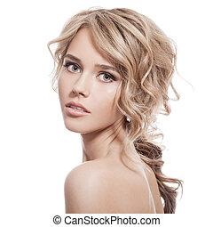 gyönyörű, göndör, egészséges, hosszú, girl., hair., szőke