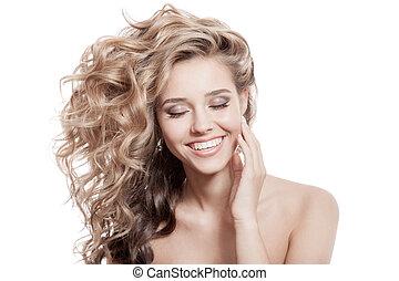 gyönyörű, göndör, egészséges, hosszú szőr, mosolygós, woman.