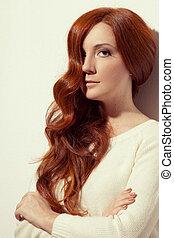 gyönyörű, girl., egészséges, hosszú, hair.