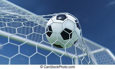 gyönyörű, goal., kék, gól, háttér., pillanat, ellen, futball, előrehajol, ég, háló, sky., háló, gyönyörködtet, ábra, repült, labda, háttér, 3