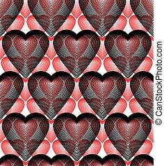 gyönyörű, grafikus, romantikus, színes, fedő, elvont, ornament., seamless, motívum, kortárs, téma, vektor, hearts., átfedő, geometriai