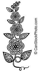 gyönyörű, guipure, black-and-white, elem, embroidery., tervezés, követés, virágos, menstruáció, zöld, element.