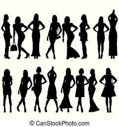gyönyörű, gyűjtés, körvonal, black háttér, fehér, nők