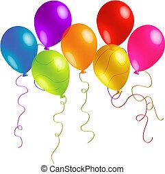 gyönyörű, gyeplő, születésnap, léggömb, hosszú