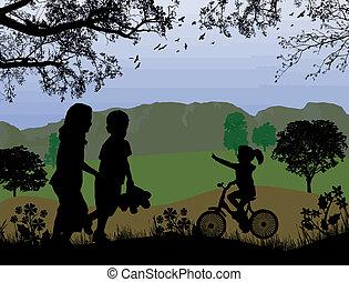 gyönyörű, gyerekek, táj, játék