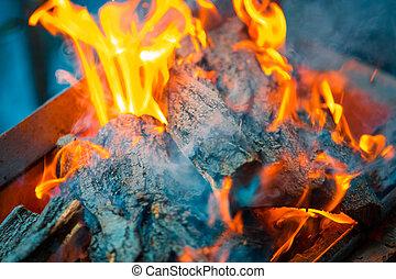 gyönyörű, háttér, égető, elbocsát, láng, dohányzik