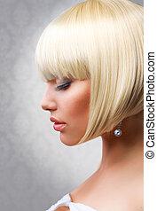 gyönyörű, haircut., rövid, egészséges, frizura, szőke, hair., leány