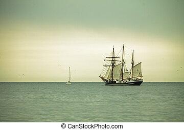 gyönyörű, hajó, tenger, vitorlázás, szürkület