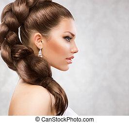 gyönyörű, haj, hosszú